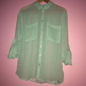 ❄️ Garage Mint Blue Sheer Button up Blouse